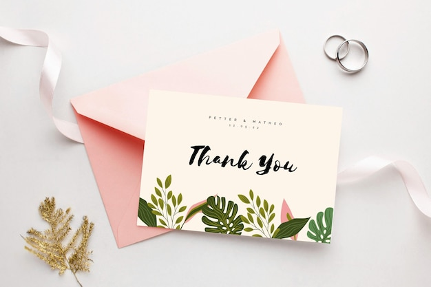 Gracias por venir tarjeta de boda y anillos. vector gratuito
