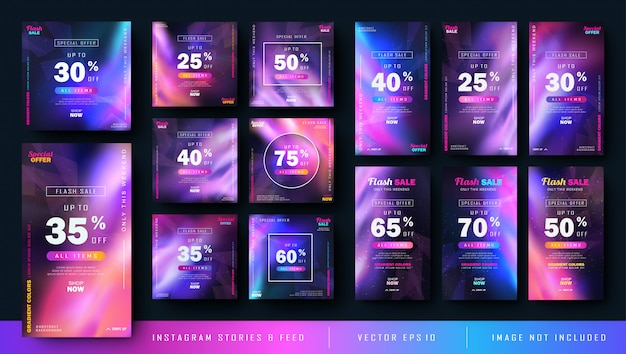 Gradient abstract instagram stories and feed post bundle kit Vector Premium