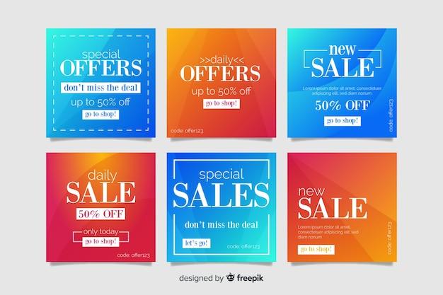 Gradient sale instagram post collection vector gratuito