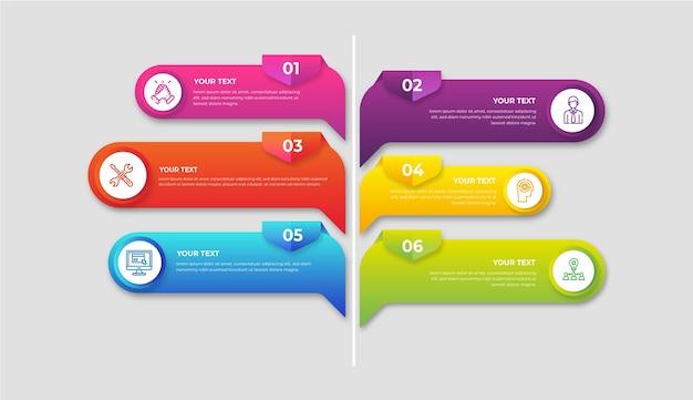 Gradiente colorido infografía vector gratuito