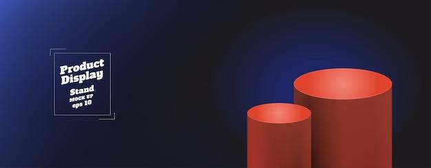 Gradiente de fondo de color azul claro a azul marino con soporte de quiosco redondo naranja rojo Vector Premium