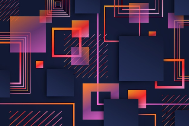 Gradiente de formas cuadradas geométricas sobre fondo oscuro vector gratuito