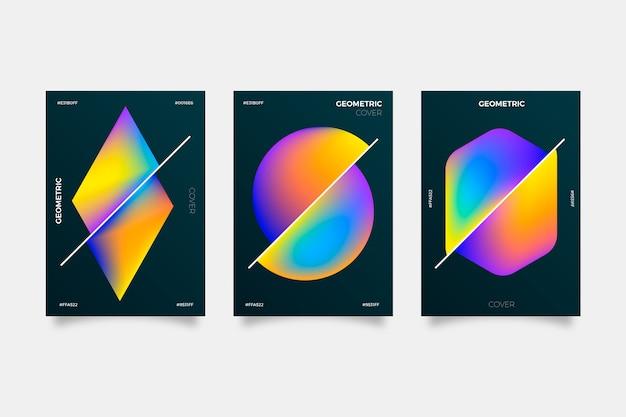 Gradiente geométrico cubre sobre fondo oscuro Vector Premium