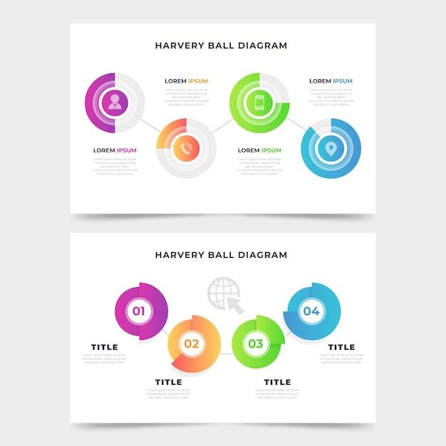 Gradiente harvey ball diagrama infográfico vector gratuito