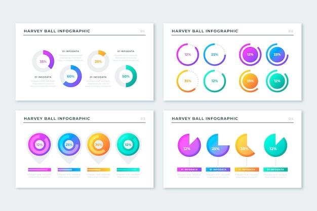 Gradiente harvey ball diagramas infografía vector gratuito