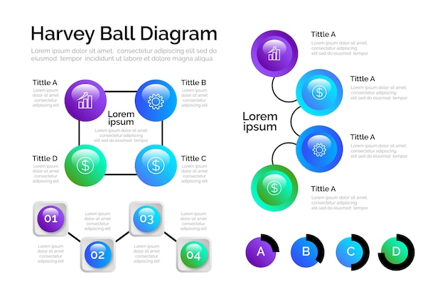 Gradiente harvey ball diagramas infografía vector gratuito
