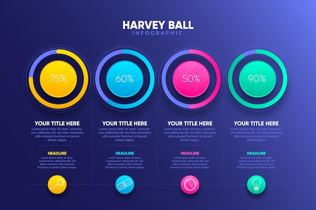 Gradiente harvey ball infografía vector gratuito
