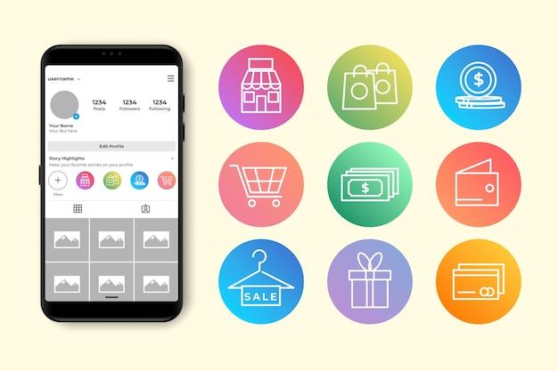 Gradiente historias destacadas de instagram Vector Premium