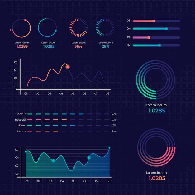 Gradiente de infografía de elementos vector gratuito