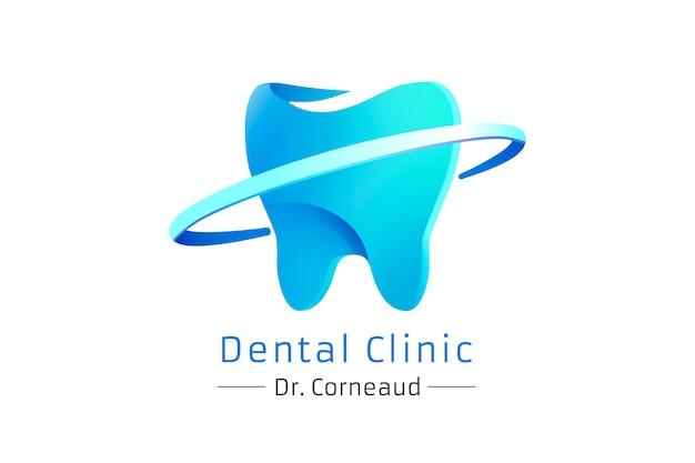 Gradiente logotipo moderno de una clínica dental, vector gratuito