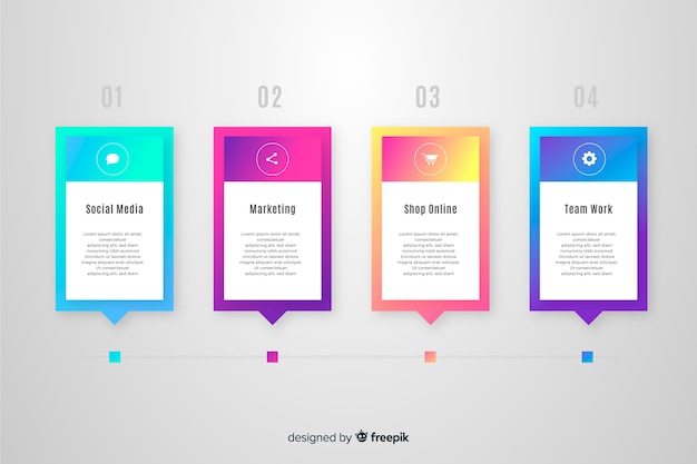 Gradiente de negocios infografía vector gratuito