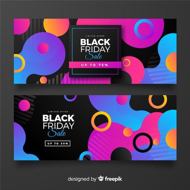 Gradiente viernes negro colección de pancartas vector gratuito