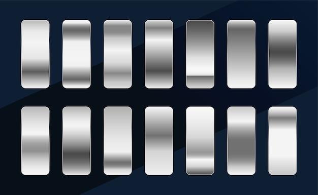 Gradientes metálicos plateados cromo platino o aluminio vector gratuito