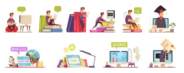 Grado en línea cursos de educación universitaria con diploma de calificación 12 composiciones de dibujos animados conjunto horizontal aislado vector gratuito