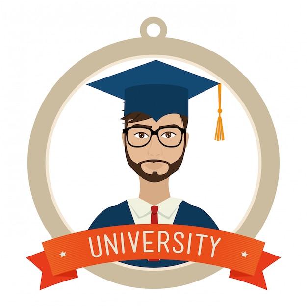 Graduacion de estudiantes universitarios vector gratuito