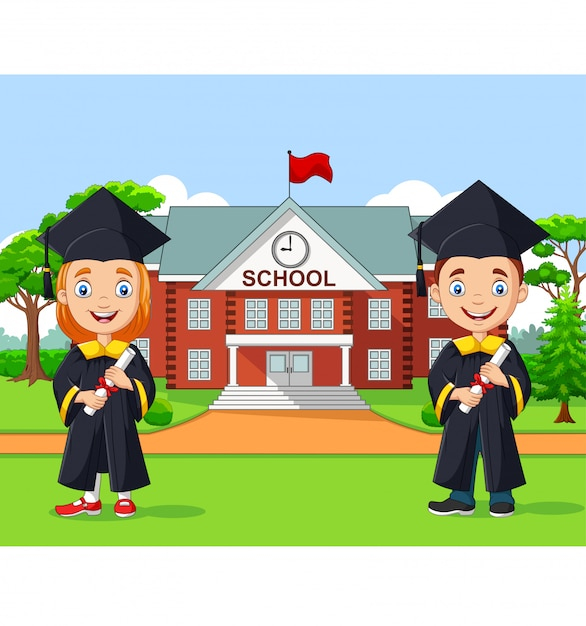 Graduación de los niños de la escuela frente al edificio de la escuela Vector Premium