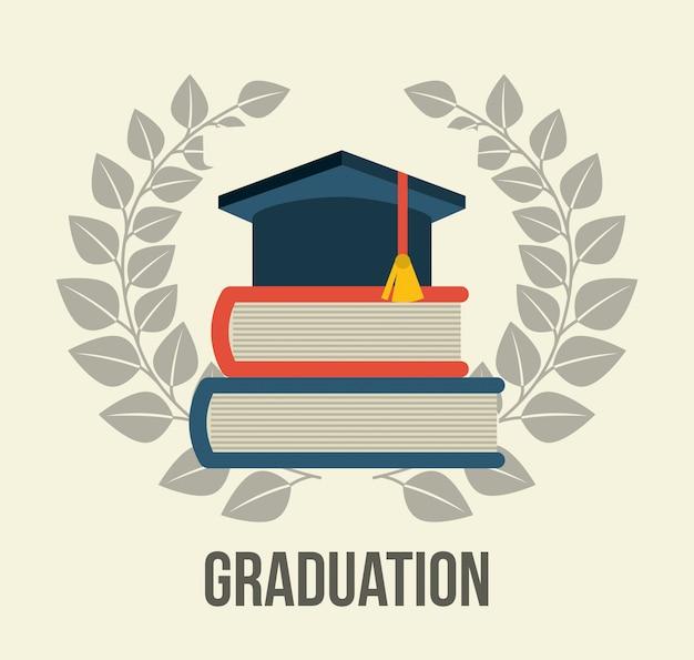 Graduación sobre fondo blanco vector gratuito