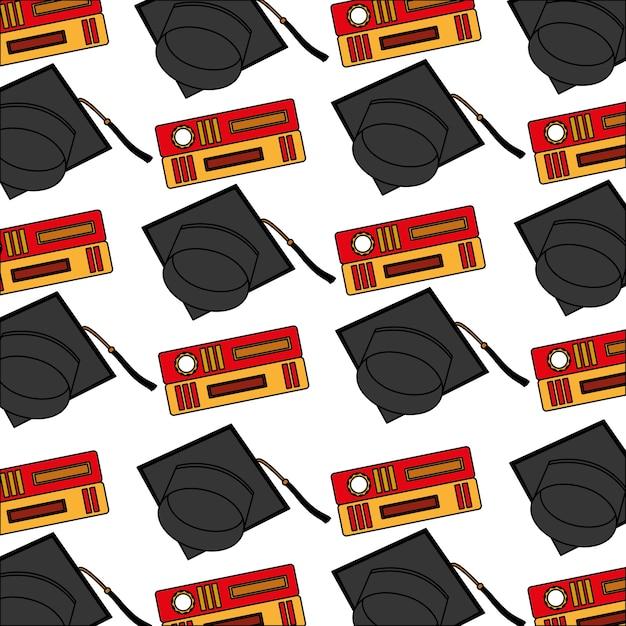 Graduación de sombrero con diseño de ilustración de vector de patrón de libros Vector Premium