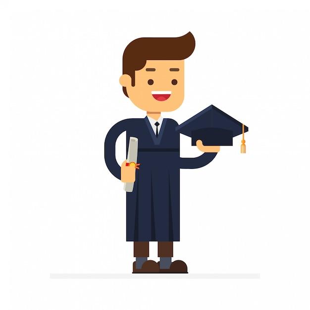 Un graduado con un diploma. Vector Premium