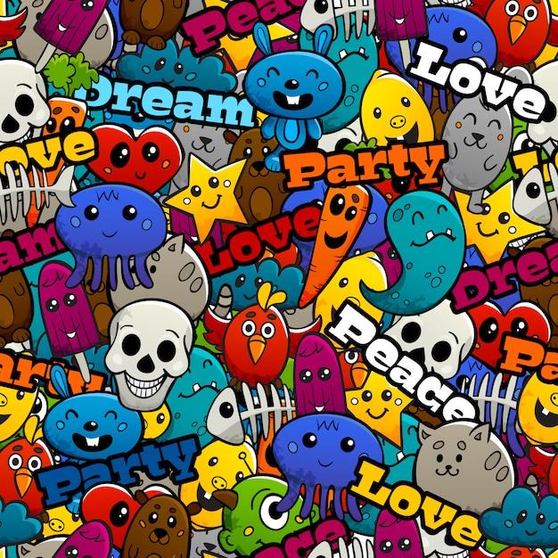 Graffiti personajes de patrones sin fisuras vector gratuito