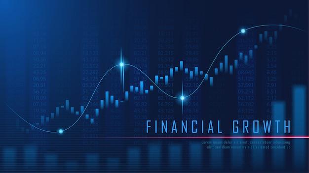Gráfica financiera en concepto futurista Vector Premium