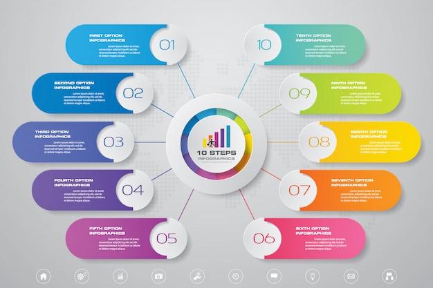 Gráfico de 10 pasos de elementos infográficos. Vector Premium