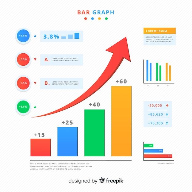 Gráfico de barras vector gratuito