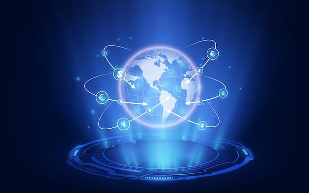 Gráfico bursátil o forex en concepto gráfico adecuado para inversiones financieras o negocios de tendencias económicas. Vector Premium