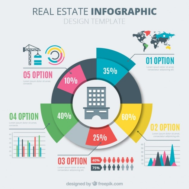 Gráfico circular de inmobiliaria a color   Descargar Vectores gratis
