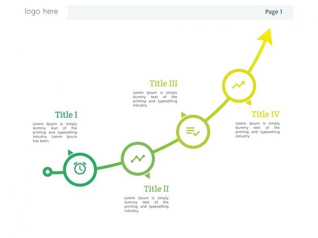 Gráfico de flecha con plantilla de cuatro elementos y powerpoint e ...