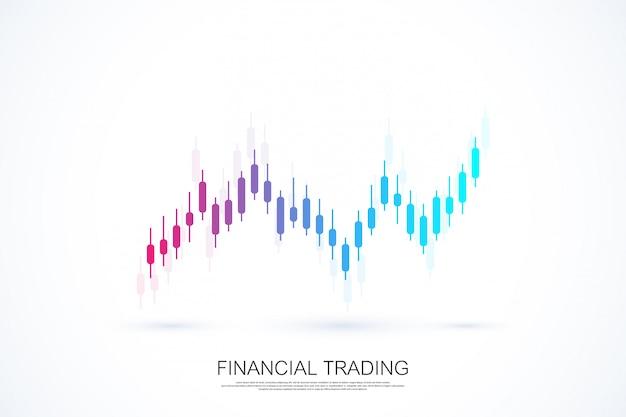 Gráfico de gráfico de negocio de bolsa o forex para el concepto de inversión financiera. presentación comercial para su diseño y texto. tendencias económicas, idea de negocio y diseño de innovación tecnológica. Vector Premium