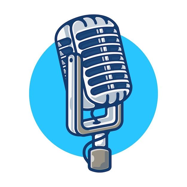 Gráfico de ilustración de micrófono vintage Vector Premium