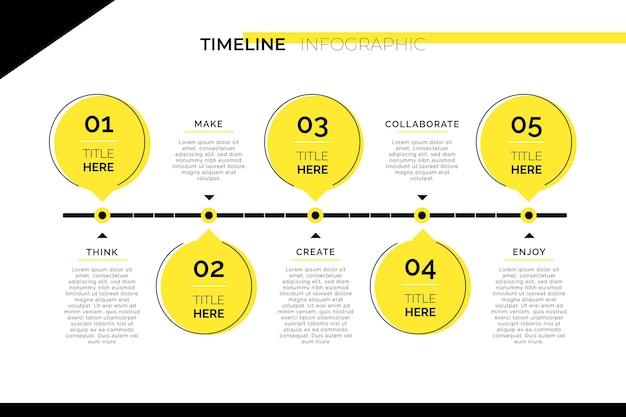 Gráfico de información de línea de tiempo mínima vector gratuito