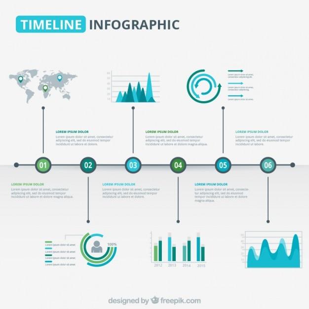 Gráfico de línea del tiempo moderna en tonos azul y verde vector gratuito