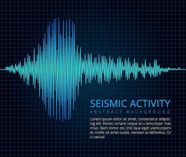 Gráfico de ondas de frecuencia de terremotos, actividad sísmica. Vector Premium