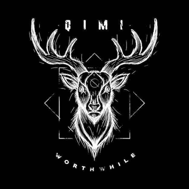Gráfico de vector de ilustración de wildanimal de dibujo de ciervos Vector Premium