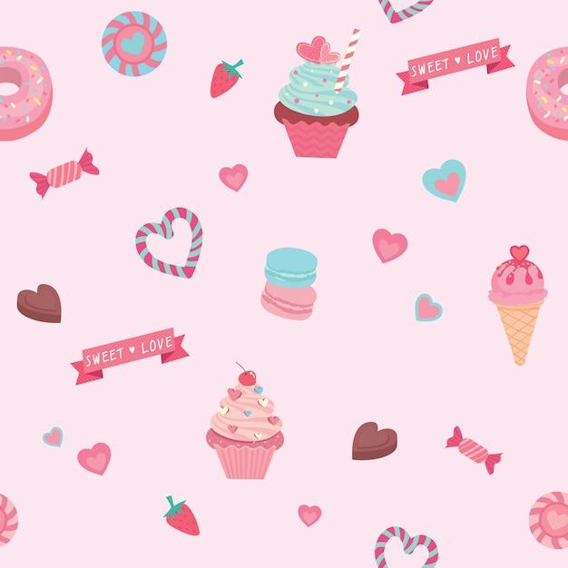 Gráfico vectorial de los diversos dulces y postres decorados en patrones sin fisuras. Vector Premium
