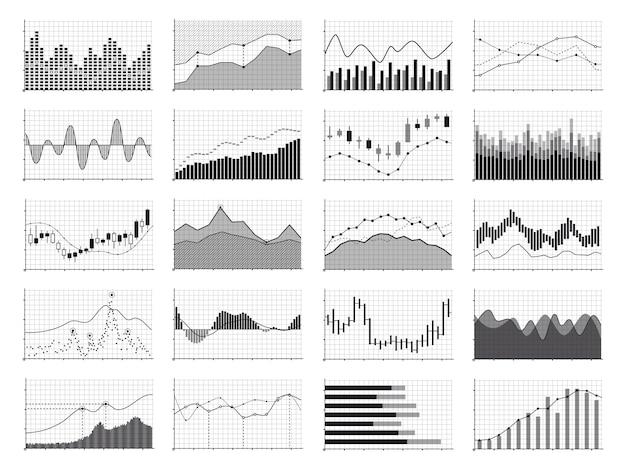 Gráficos de análisis de stock o gráficos de datos de negocios aislados Vector Premium