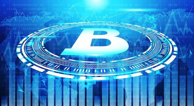 Gráficos de bitcoin en el mapa del mundo azul fondo crypto moneda comercio concepto datos infografía banner Vector Premium