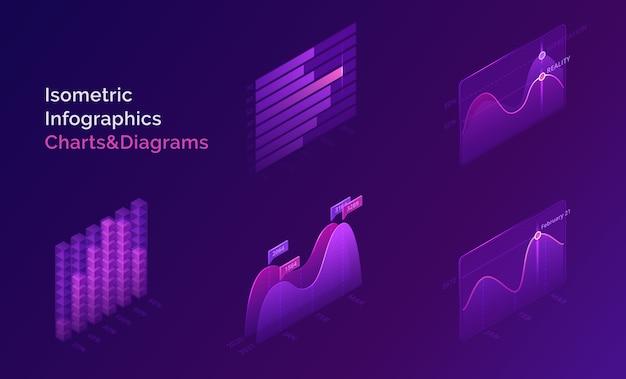 Gráficos y diagramas infográficos isométricos para la presentación digital de información estadística y analítica vector gratuito