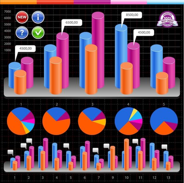 Gráficos e infografías de negocios. Vector Premium