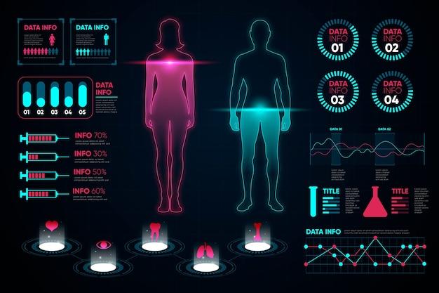 Gráficos de mujer y hombre de infografía médica vector gratuito