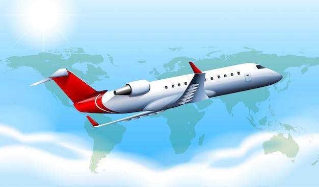 Un gran avión en el cielo. vector gratuito