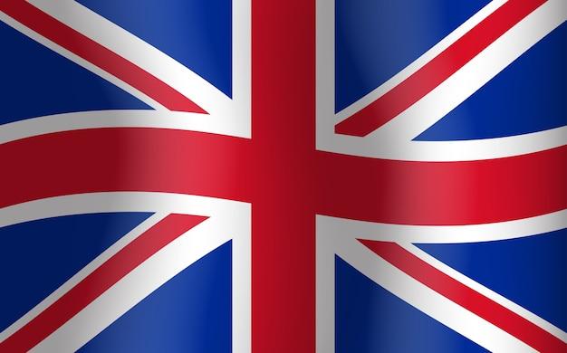 Gran Bretaña Ondeando Bandera Reino Unido Inglés Vector Premium