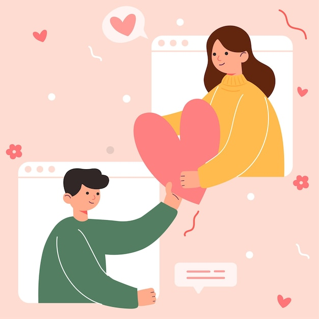Gran Caricatura Aislada De Niña Y Niño Enamorados Pareja Compartiendo Y Amor Cariñoso Ilustración 3d Vector Gratis
