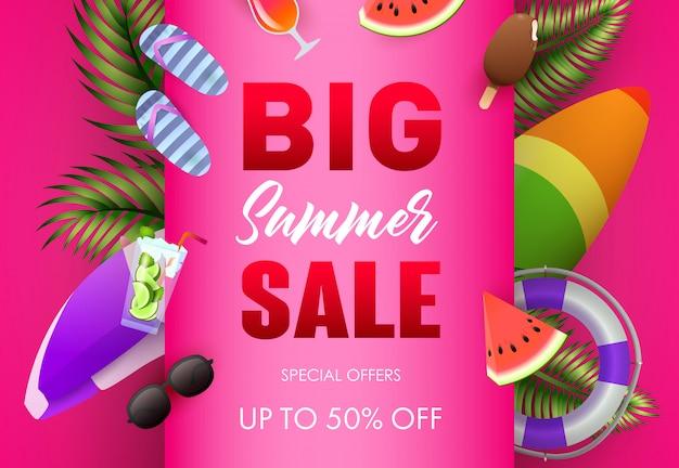 Gran cartel de venta de verano de diseño. hojas de palma, helado vector gratuito