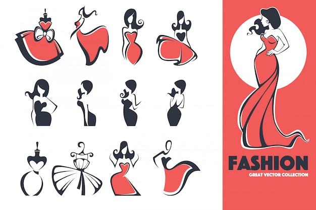Gran colección de logotipos y emblemas de moda, vestimenta y belleza Vector Premium