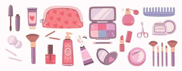 Gran collage de cosméticos y productos de cuidado corporal para maquillaje. Vector Premium
