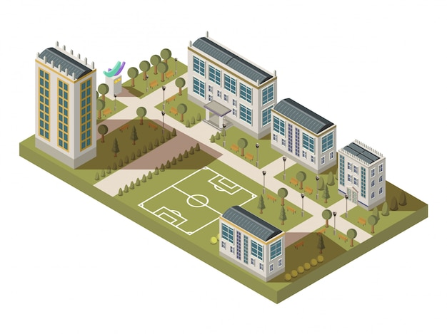 Gran composición de la universidad isométrica con casas de los patios del campus del campus con las sombras y el fútbol playgro vector gratuito