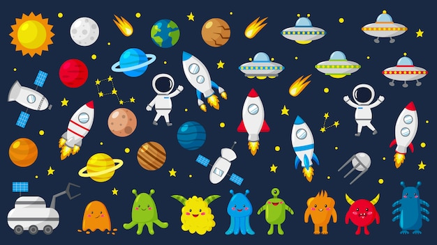 Gran conjunto de adorables astronautas en el espacio, planetas, estrellas, extraterrestres, cohetes, ovnis, constelaciones, satélite, vehículo lunar. ilustracion vectorial Vector Premium